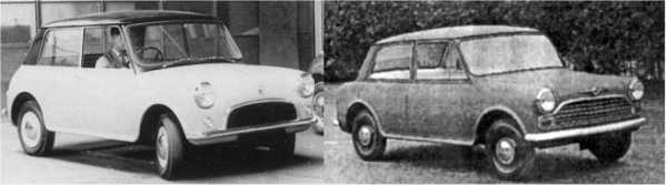 Initial XC9002 (left) shows a striking similarity to the Mini, but is, in fact a scaled down version of the  XC9001, the forerunner of the ADO17 – this model dates back to 1958 and was adjudged to look too  similar to the Mini. The next version of the XC9002 (right) shows the beginnings of the ADO16 character  – especially towards the rear, displaying the cropped fins so loved at Longbridge at the time. Otherwise,  the dainty car looks rather appealing from this angle.