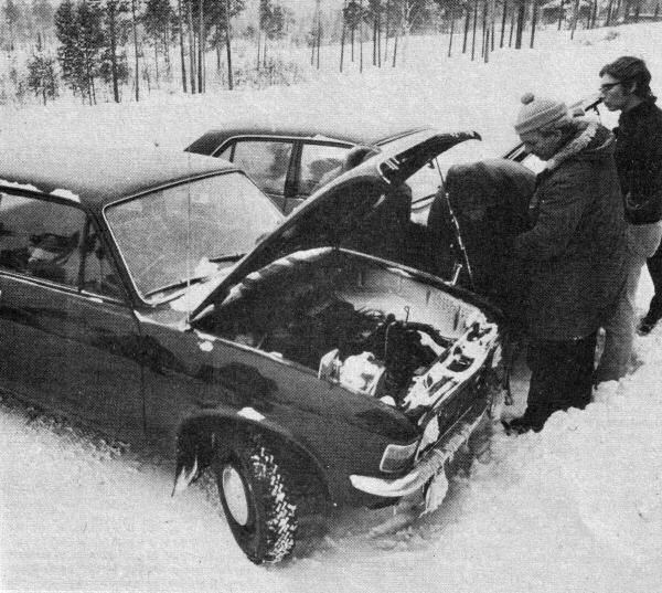 Cold weather testing the ADO67 in Finland in January 1972. Looking on are senior engineers Ray Bates and Tom Penny.