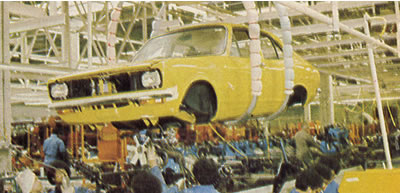 The body is lowered onto the powertrain - engine, transmission and suspension (1600cc with four-speed manual).