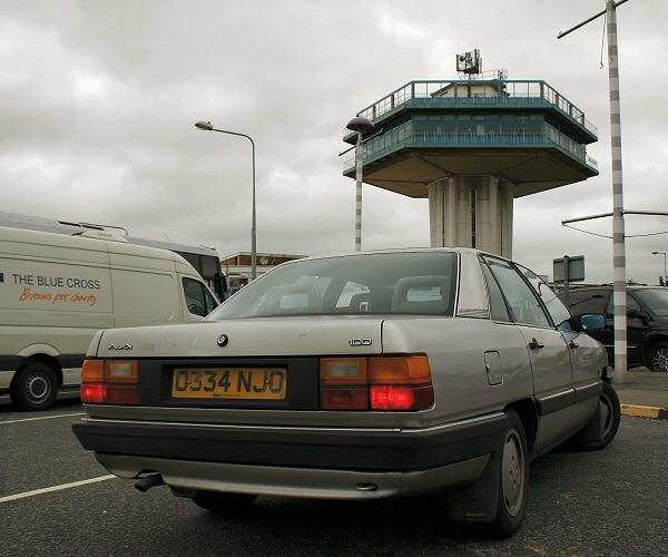 Lancaster's Forton Services, and the Audi pauses for a break after a harsh work-out...
