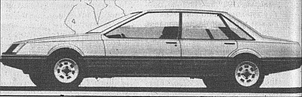 The Tagora was always going to be a six-light, three box saloon, but the Citroen SM style nose treatment (headlamps and registration plate housed behind a glass cover) of the early prototypes was soon abandoned following pressure from Chrysler management.