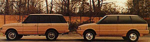 Bertone's design was compared with a similarly coloured Range Rover in order to be evaluated for suitability.