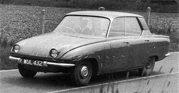 March 1959 and the first running Rover P6 prototype is undergoing testing.