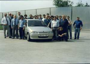 The Coggiola team photographed with their car...  (Picture kindly supplied by Roy Axe)