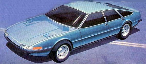 This Kevin Spindler sketch for the Rover SD1 shows a clear Ferrari 365 GTB/4 Daytona influence. Note the side swage lines and indicator lenses: details which were followed through to the production model.