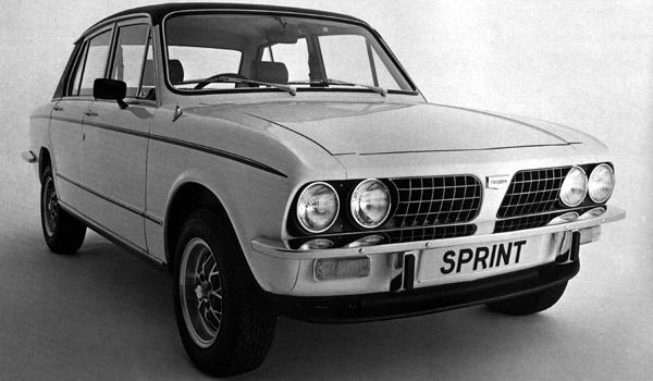 The delayed Triumph Dolomite Sprint  due for release in 1972, put back until 1973: Spen Kings reworking of the Dolomite 1850 slant four engine produced remarkable results. The Sprint was the first generally available 16-valve, four cylinder engine  and the numbers produced by the single cam engine were highly impressive. Maximum power was 127bhp, giving the bluff fronted saloon a maximum speed of 115mph and 0-60 acceleration of 8.7secs.