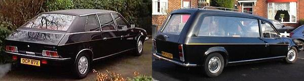 LEFT: This X-reg Kirklees must have been one of the last made, and was briefly owned by Peter Wood. RIGHT: This hearse, on the other hand, is amongst the earliest of its kind, dating from 1976. It is (or at least, was) owned by Paul Bradshaw, and you can find out more about it at Anja Zoe Christen's Hearse.de website (don't worry – this link takes you to an English-language version of the page!).