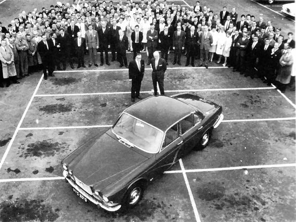The XJ6 design team with William Heynes and William Lyons nearest the car...