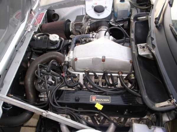 Fuel injected Rover 4.0-litre with Bosch hotwire system fits snugly in a TR8 with modifications.