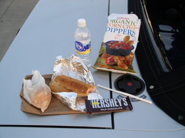 Roadside dinner. We stop in Macon, Georgia at petrol station, fill the car first, then the driver.