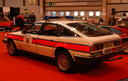 The Grampian Police Rover at the Autosport Coys Auction, shortly before it sold for £9,750