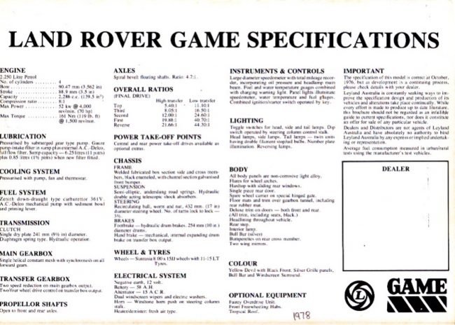 Land Rover GAME specifications