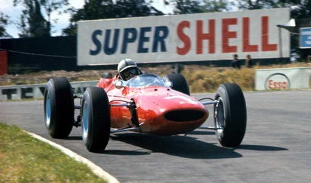 The famous blue wheeled Ferrari 158 driven by John Surtees with body made by Specialised Mouldings ltd of Huntingdon.