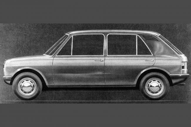 The styling sketch for the above car: compare this with the proposed ADO16 facelift. (Both cars eventually lost out to the Allegro). This design also bears a passing resemblance to the Autobianchi Primula, which itself looked rather like an ADO16 hatchback.